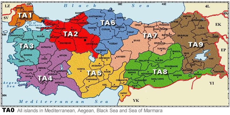 telsiz bölge haritası