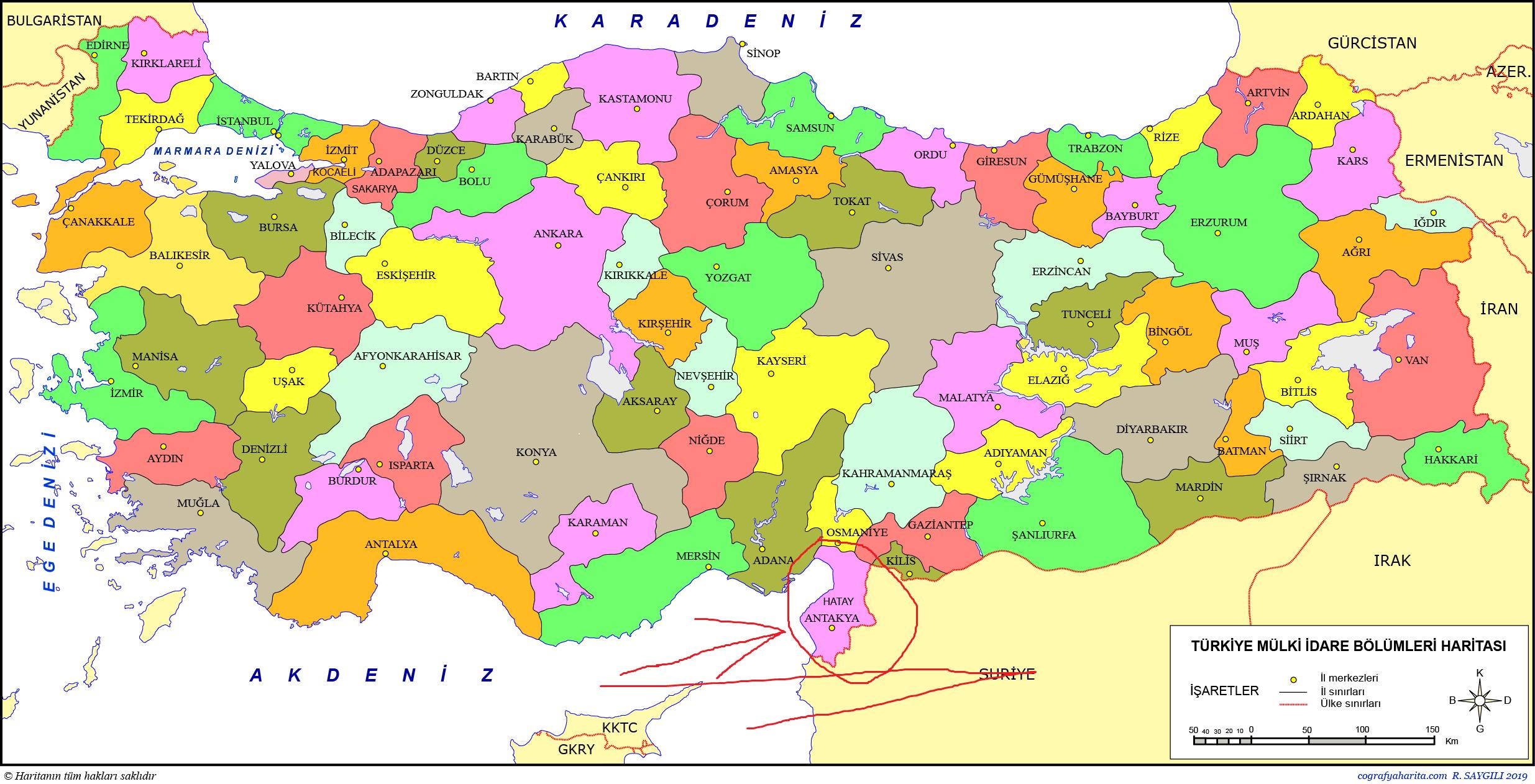 türkiye mülki idari sistemler haritası