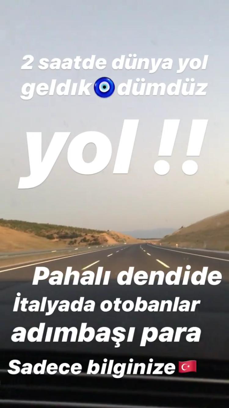 Demet Akalın Instagram Story İstanbul İzmir Otoyolu