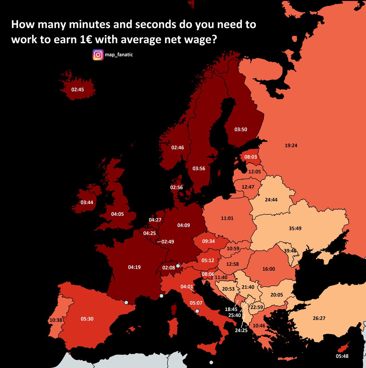 1 euro kazanmak için gerekli olan süre ülkelere göre