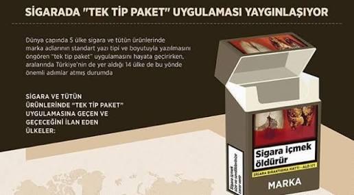 Sigarada tek tip kara paket uygulaması geldi