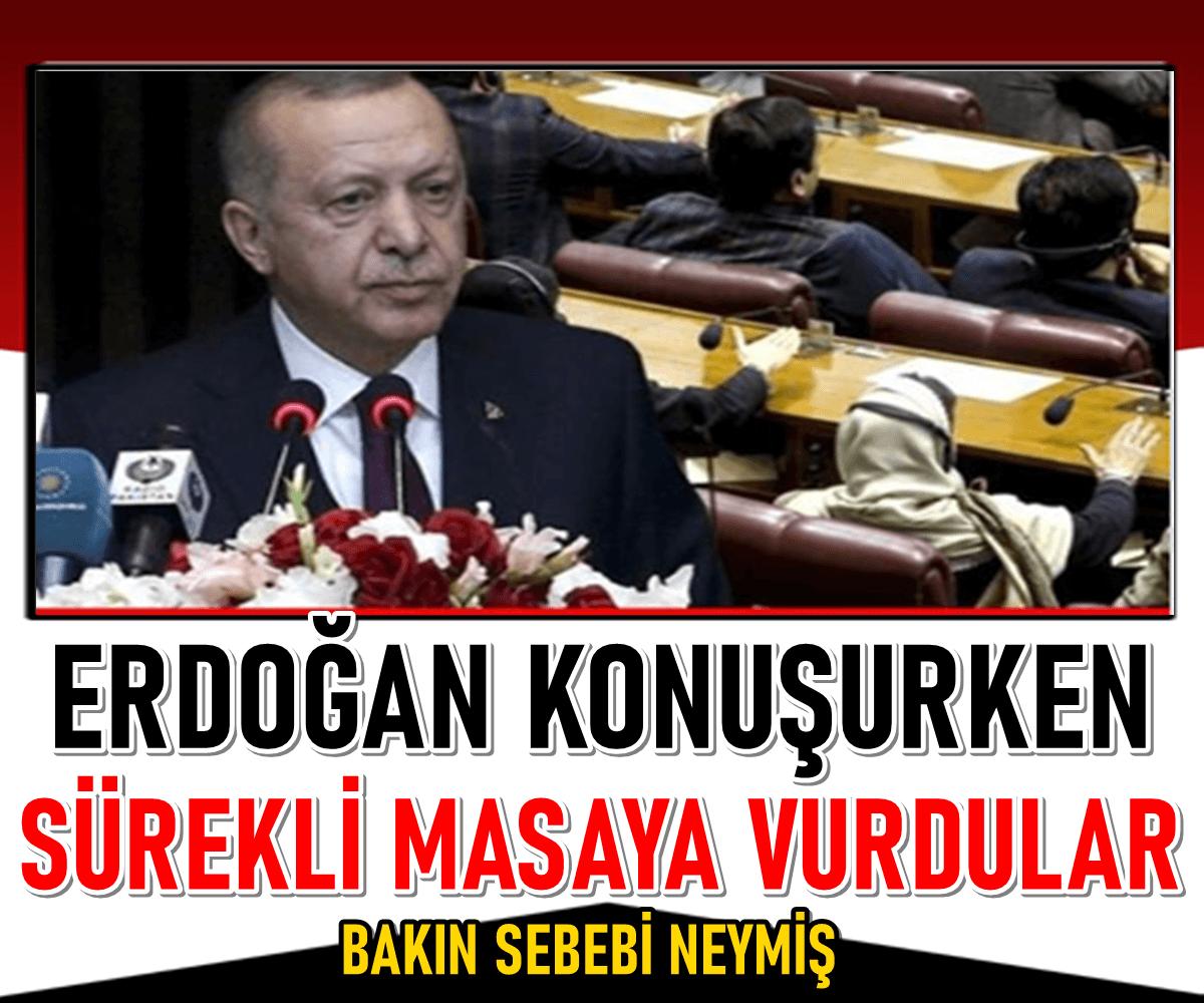 Son dakika: Pakistan'da bir konuşma gerçekleştiren Erdoğan'ın sözleri, masaya vurularak kesildi